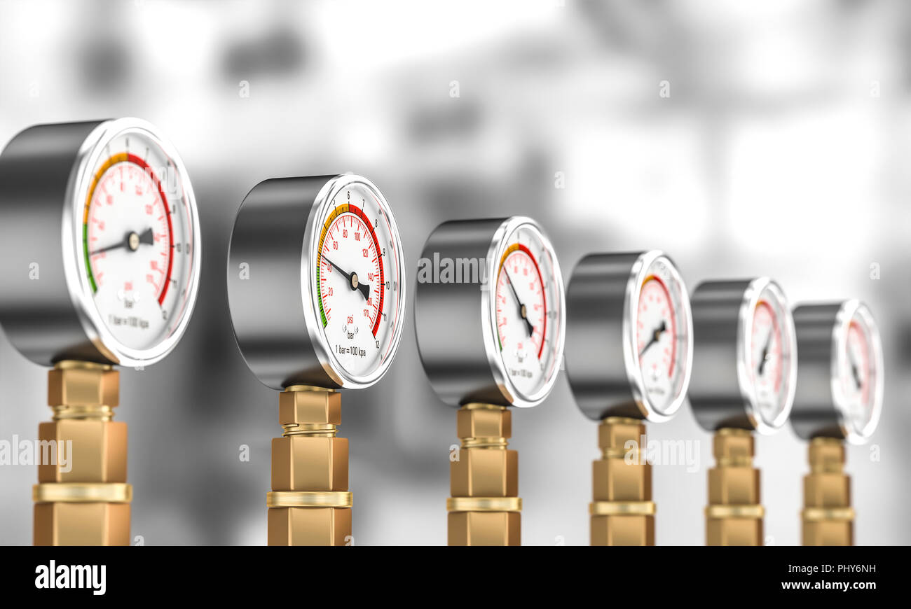 classic pressure gauge 3d rendering image - Stock Image
