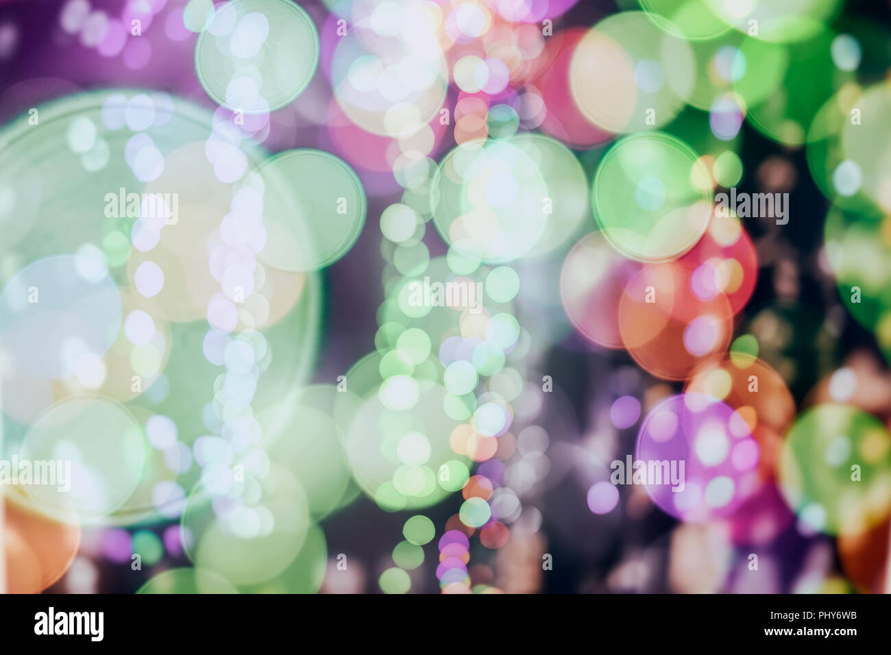 Christmas abstract background, bright colorful bokeh, glowing festive glitter, for design, different topics - Stock Image