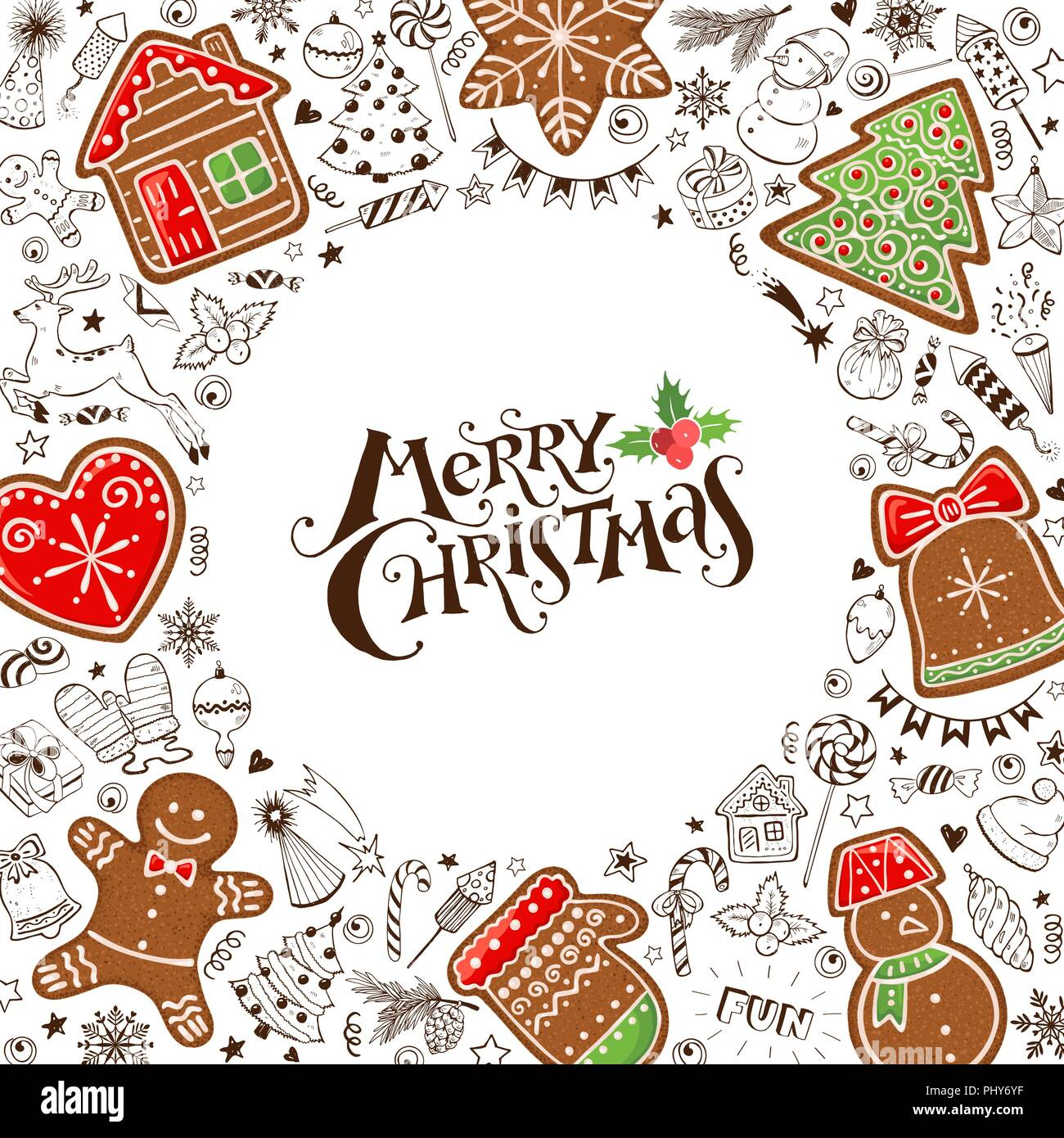 hand drawn merry christmas gingerbread in circle composition around text vector illustration of new year doodles isolated on white background happ