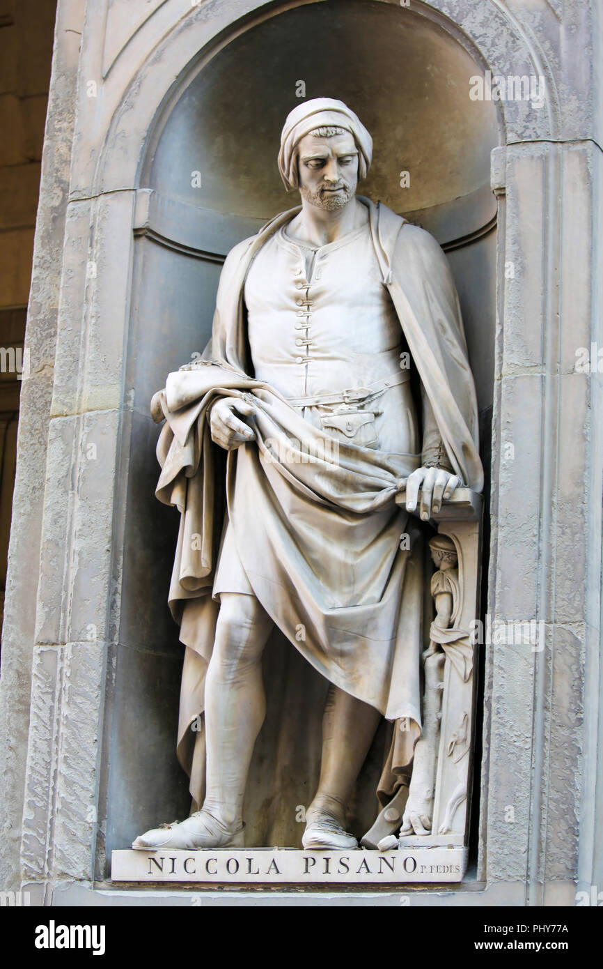 Statue of Nicola Pisano, an Italian sculptor whose work is noted for its classical Roman sculptural style, in the Uffizi Colonnade in Florence, Italy. Stock Photo