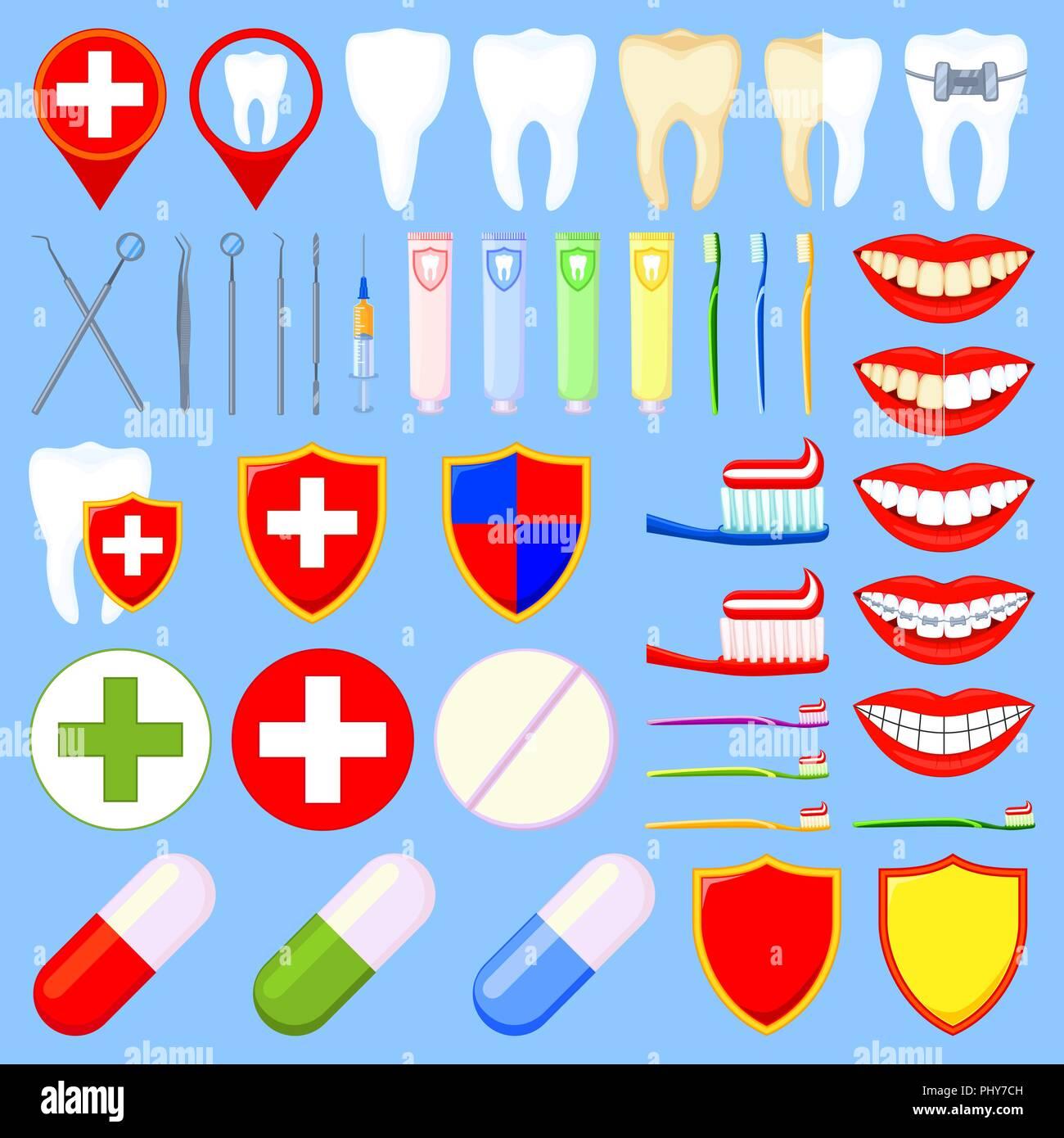 Colorful cartoon dental 42 elements set - Stock Vector