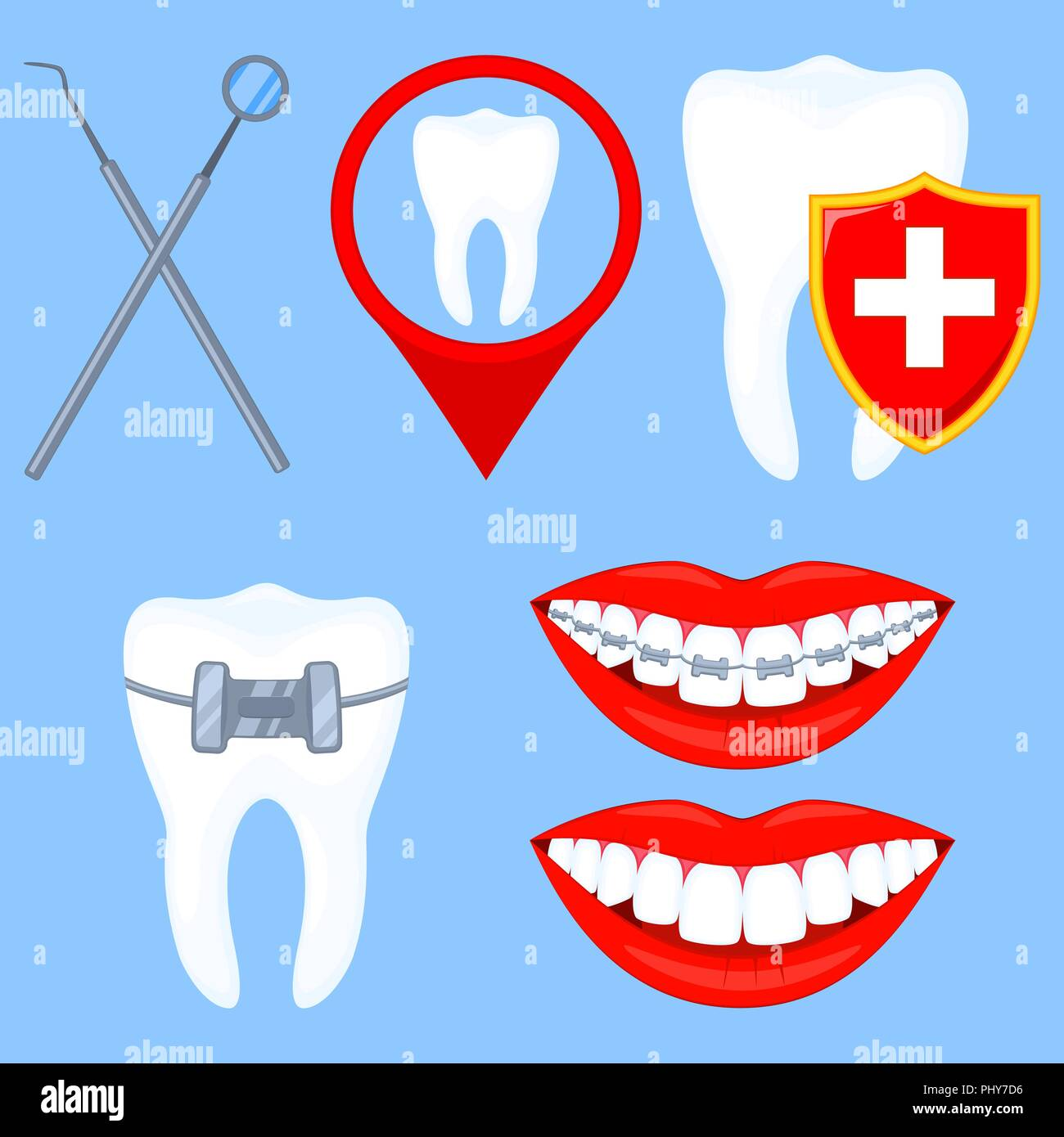 Colorful cartoon dental clinick checkup set - Stock Vector