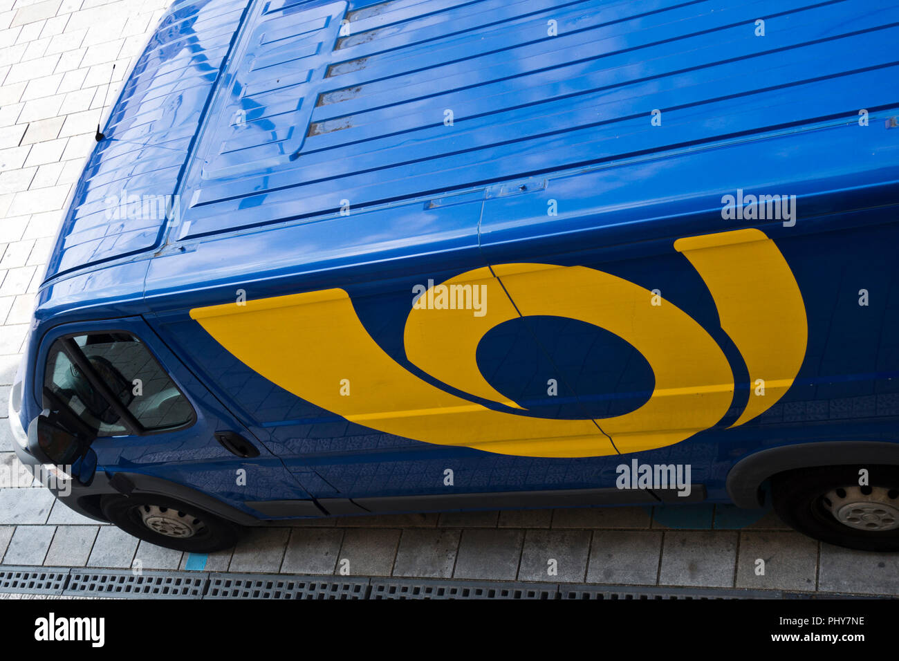 blue truck of Ceska Posta for delivery of mail - Stock Image
