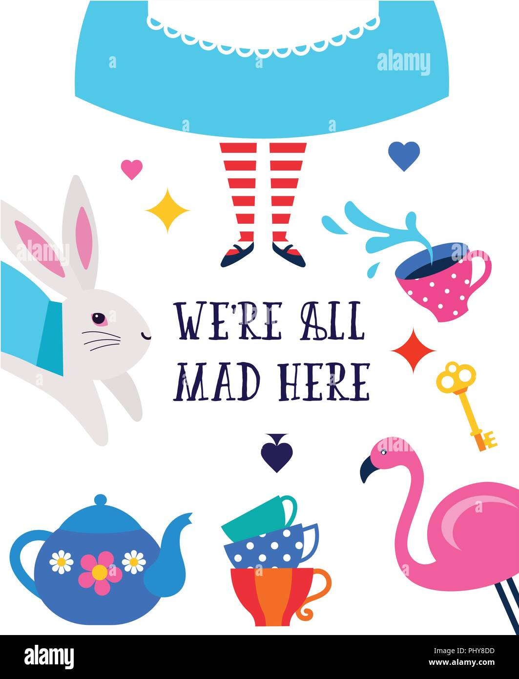 Alice in Wonderland banner, poster and card. We are mad here. Colorful vector background - Stock Image