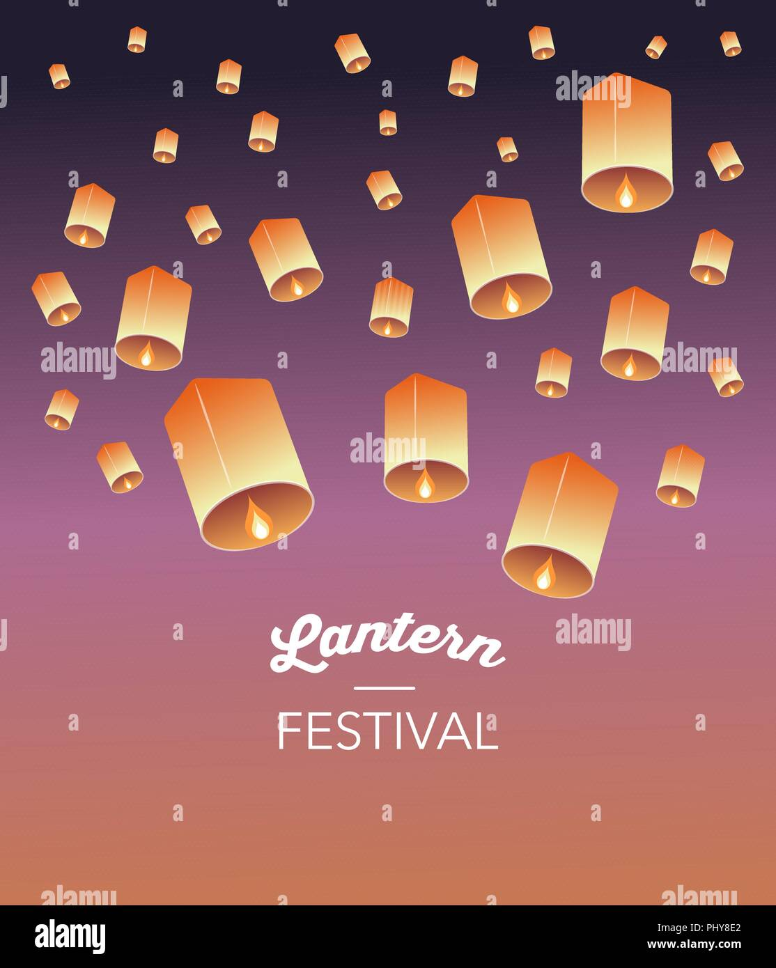 Sky Lantern Festival Chinese Thai And Japanese Flying Lanterns Poster And Banner Design Stock Vector Image Art Alamy