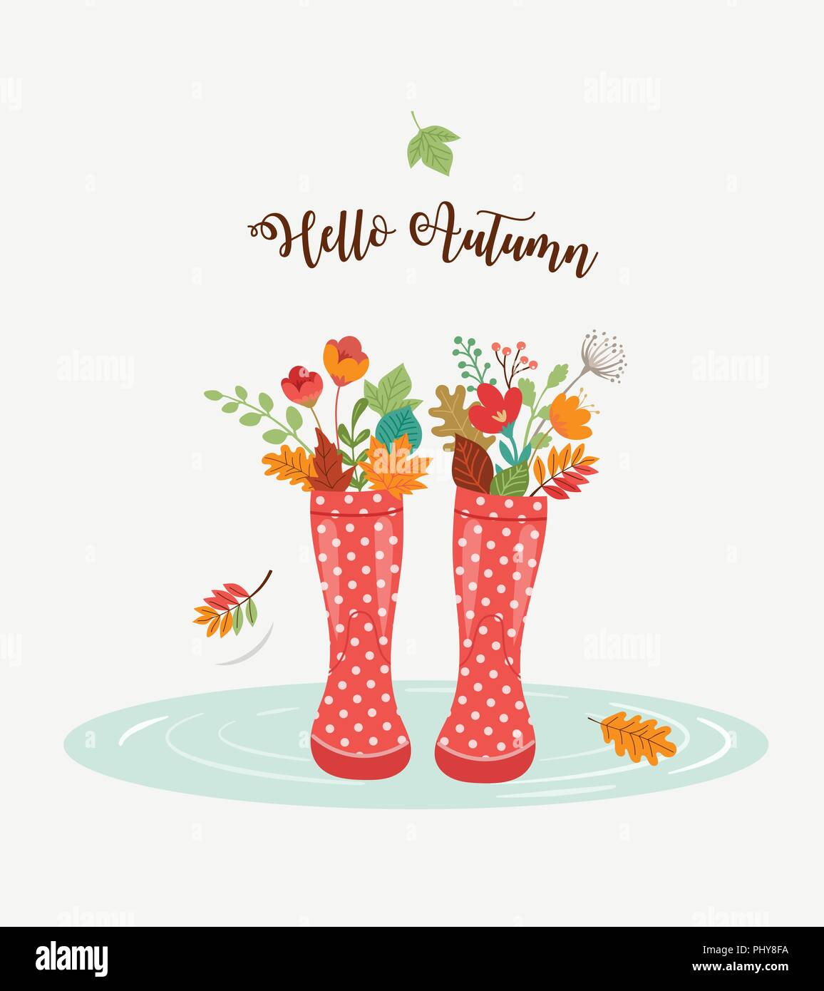 Autumn Fall Season Background Rain Rubber Boots With Autumn