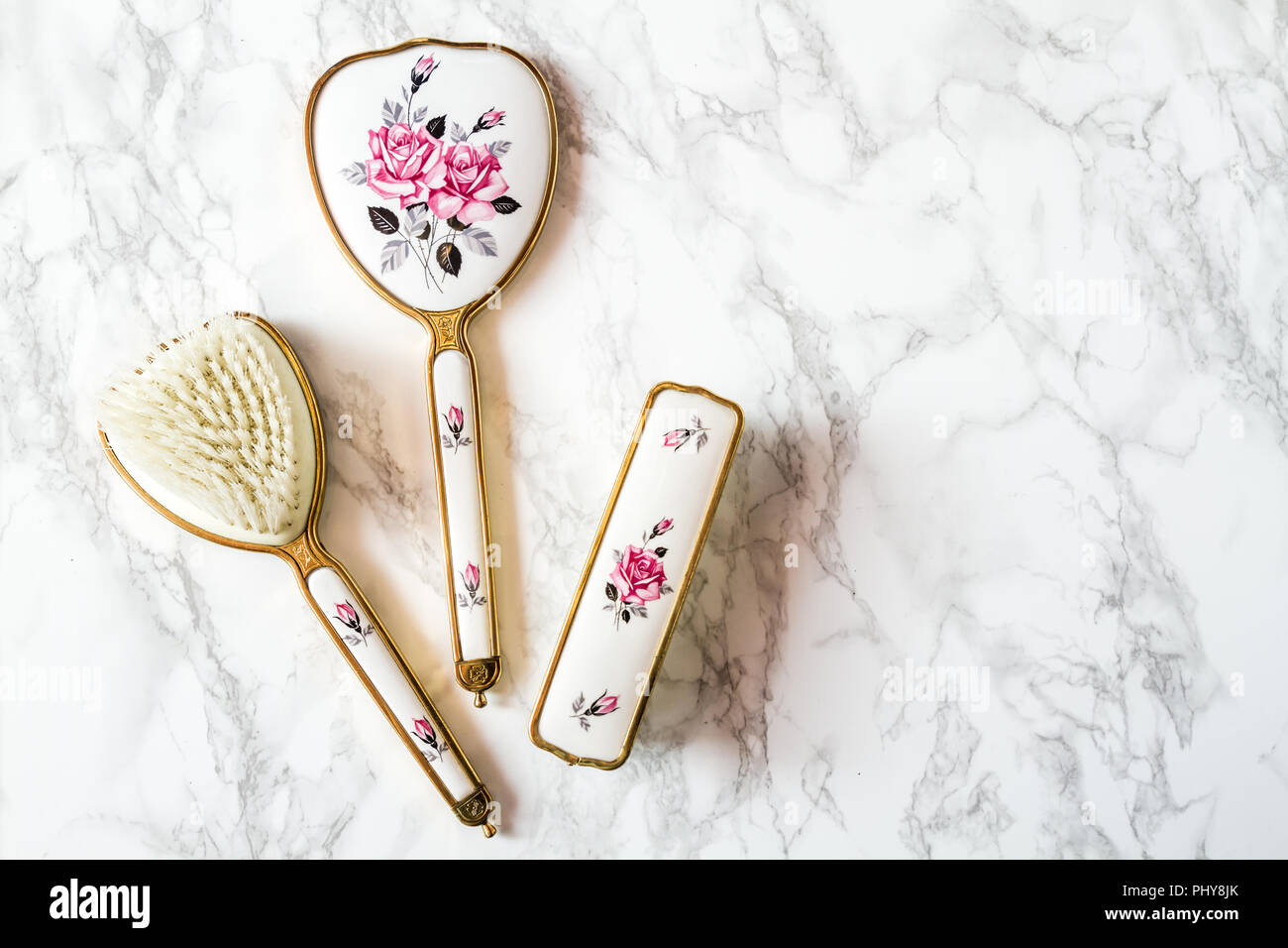 Vintage Vanity Set Comprising Of Hand Mirror Hairbrush And Long