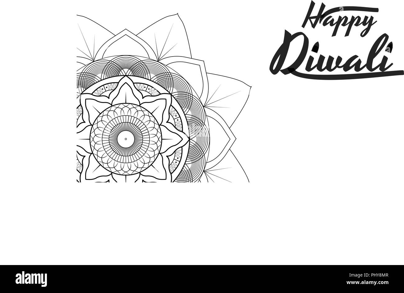 Diwali festival greeting card flyer background template with mandala stock image