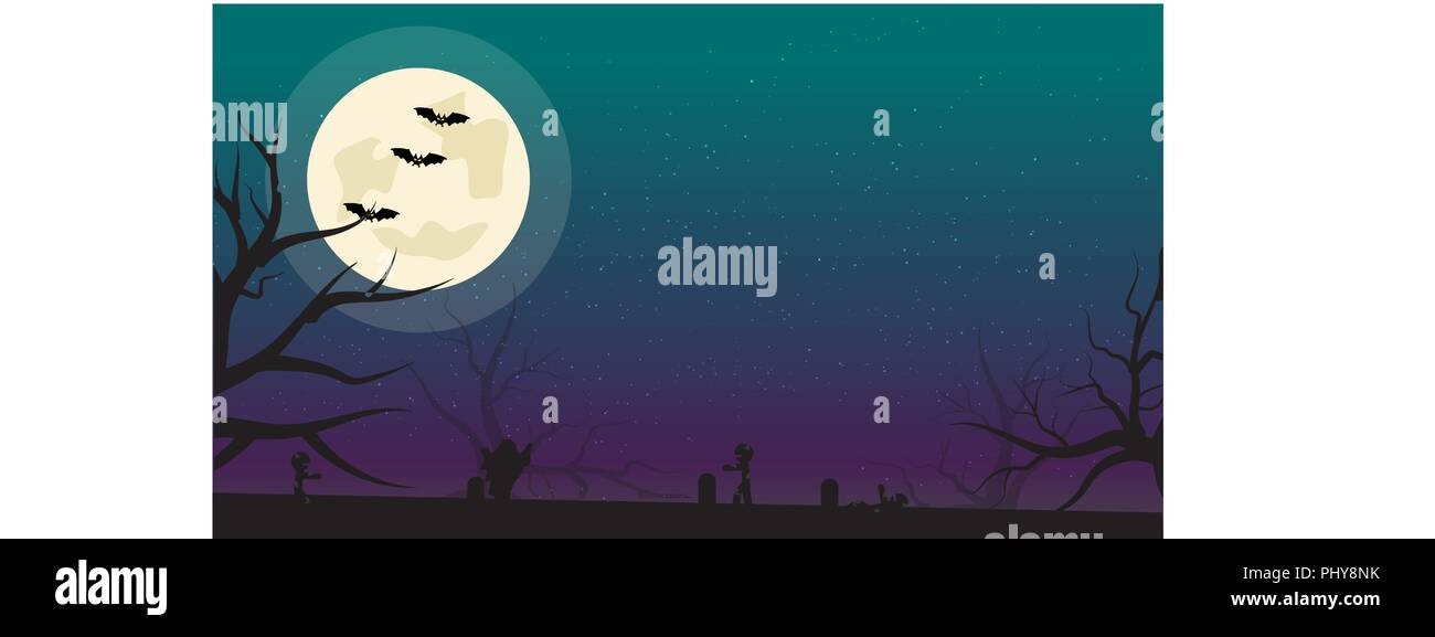 Halloween Background With Bats Zombies And Full Moon Flyer Or