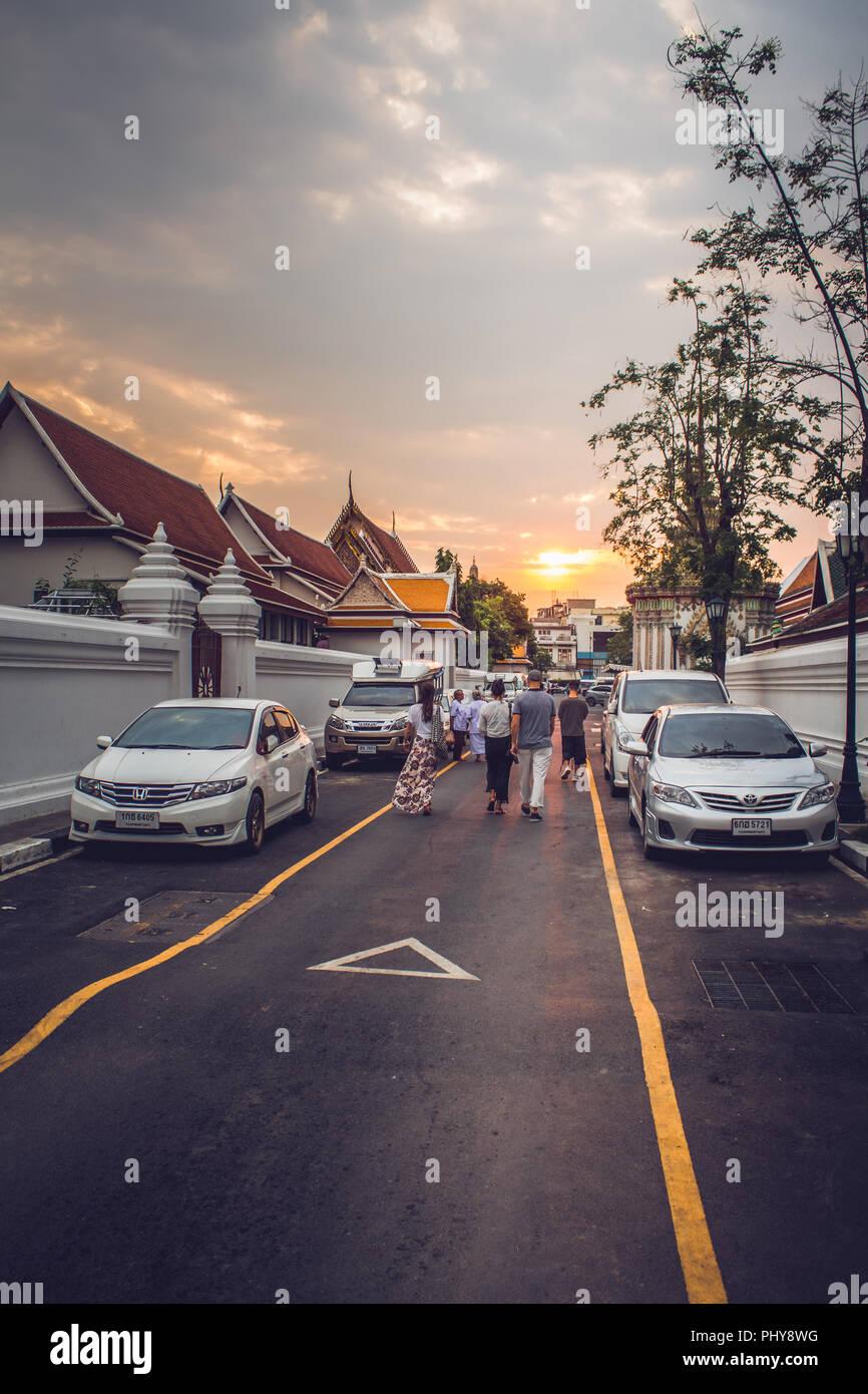 Bangkok, Thailand - January 26, 2018: Tourists walking on