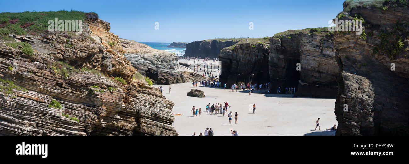 Playa de Catedrales or Beach of the Cathedrals, Galicia, Spain. - Stock Image