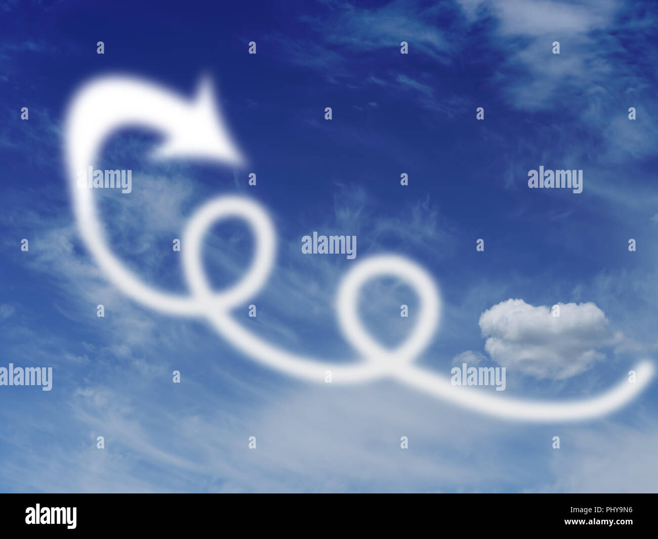 Loops and loopholes in the sky, with clouds and arrow. Escape, fly away concept. - Stock Image