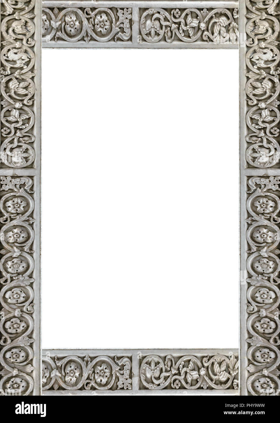White frame background with decorated design borders Stock Photo ...