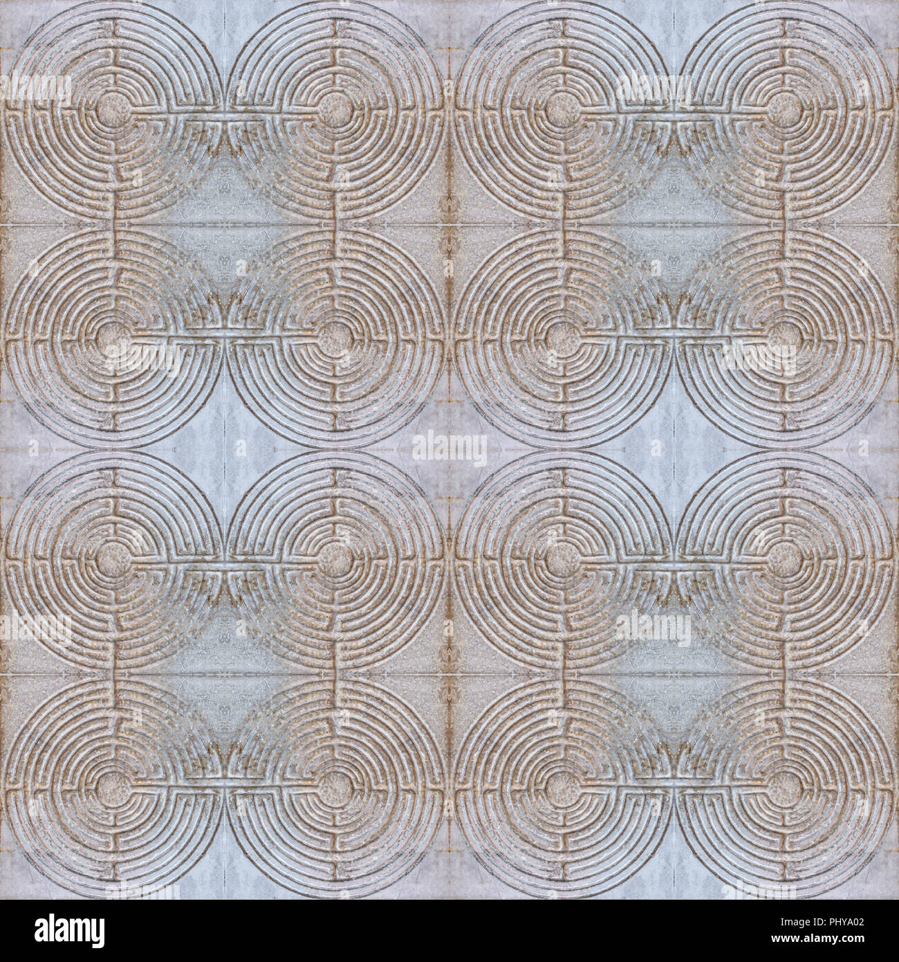 Digital photo manipulation technique labyrinth motif seamless pattern background design in dull mixed colors - Stock Image