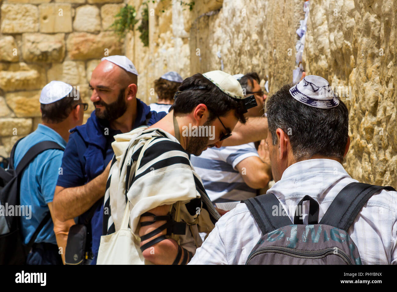 10 May 2018 Jewish pilgrims praying before the Western Wall in jerusalem Israel - Stock Image