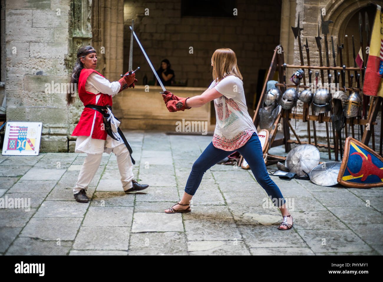 Swordplay in the castle, Tarascon, Provence, France, Europe. - Stock Image