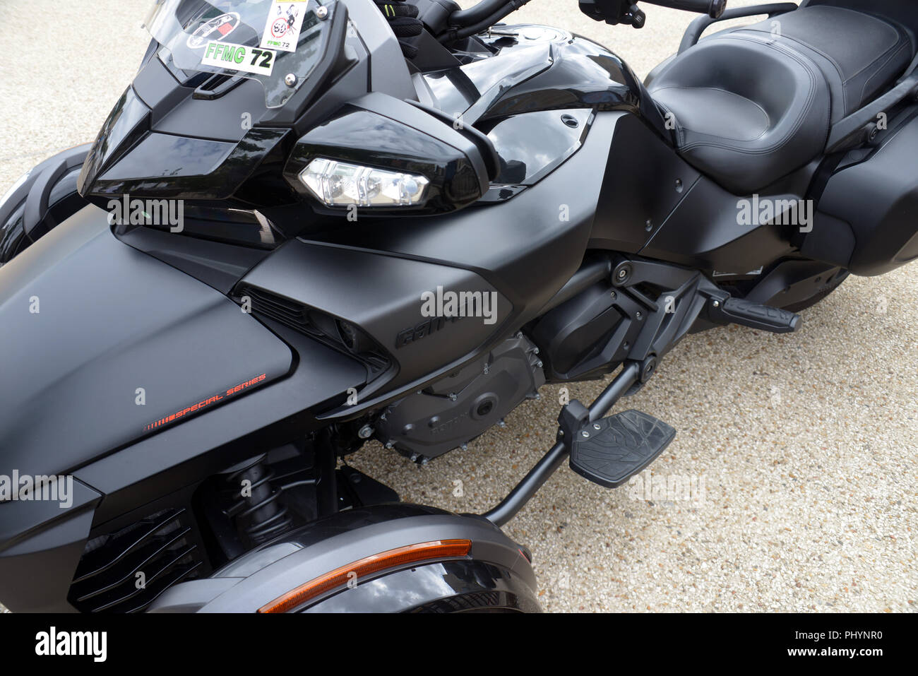 Closeup of a Can-Am's Spyder F3 Limited, a Delta trikes motorcycle with two front wheels and one drive wheel on the back - Stock Image