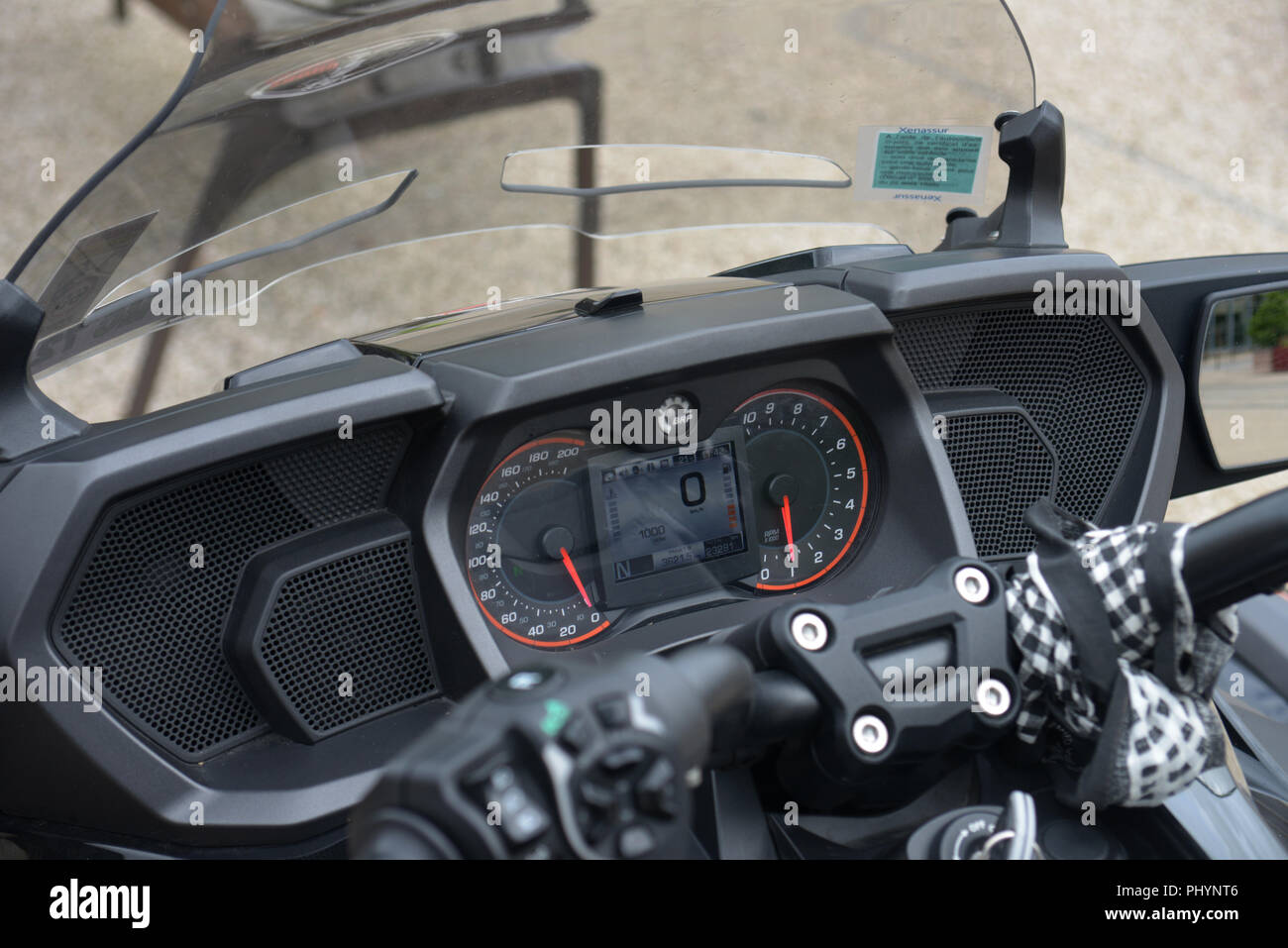The electronic control panel on a Can-Am's Spyder F3 Limited, a Delta trikes motorcycle with two front wheels and one drive wheel on the back - Stock Image