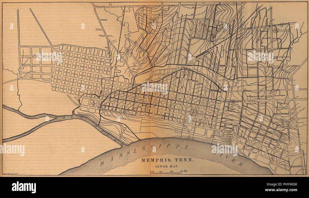 Map of the sewer system of Memphis, Tennessee in 1880 Stock ...