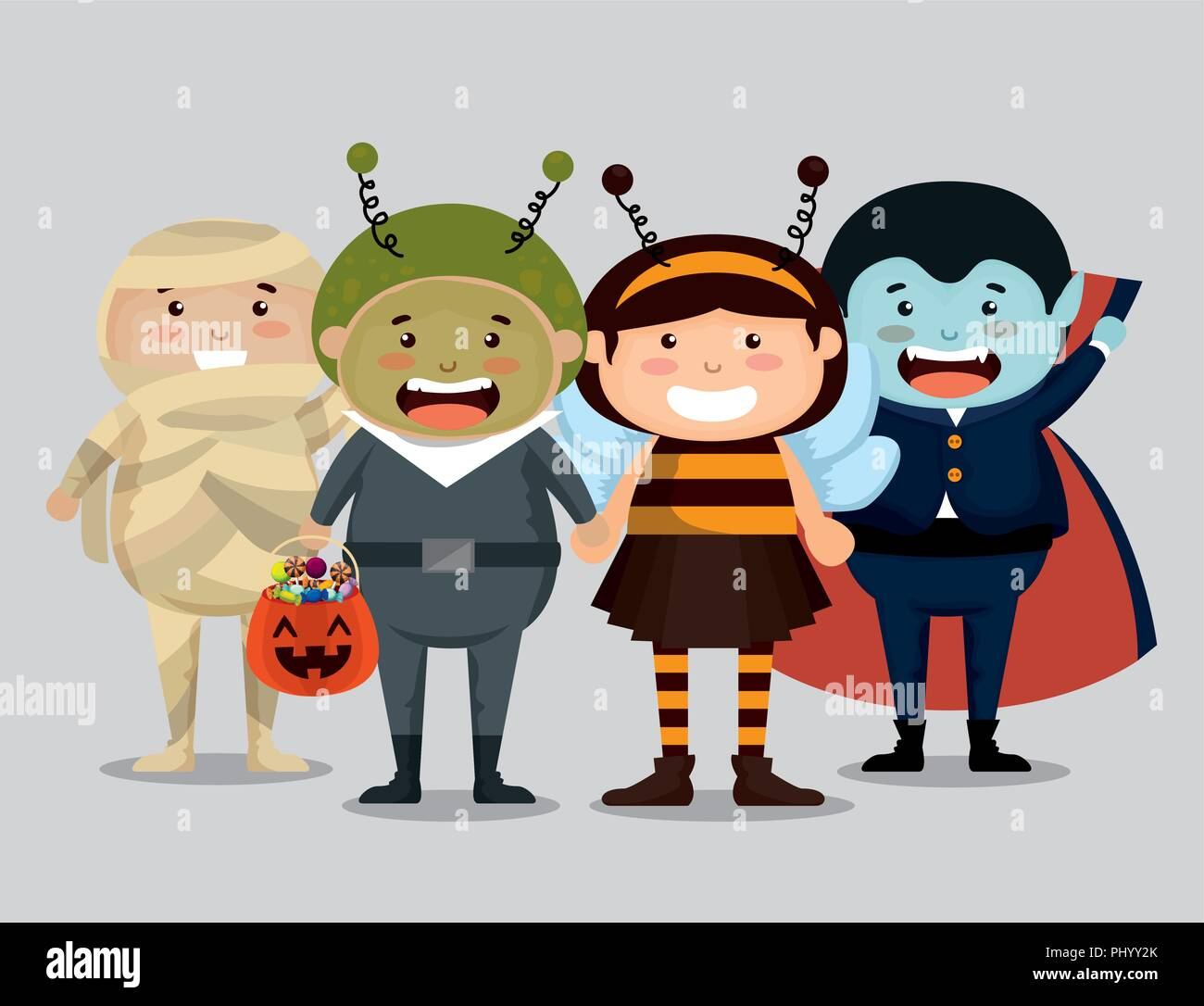 group of children dressed up in halloween - Stock Image