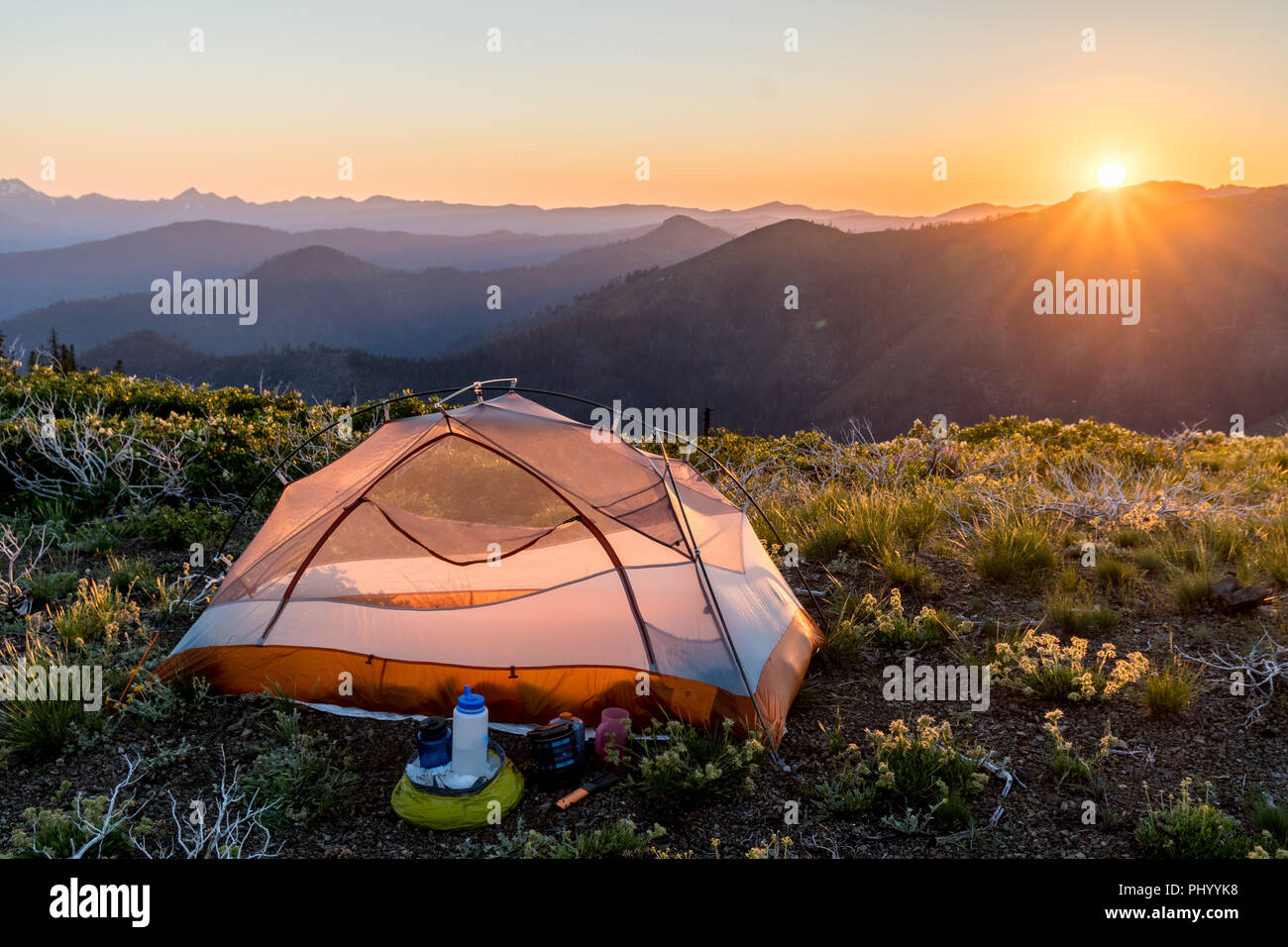 Camp on Lower Devil's Peak along the Pacific Crest Trail - Stock Image