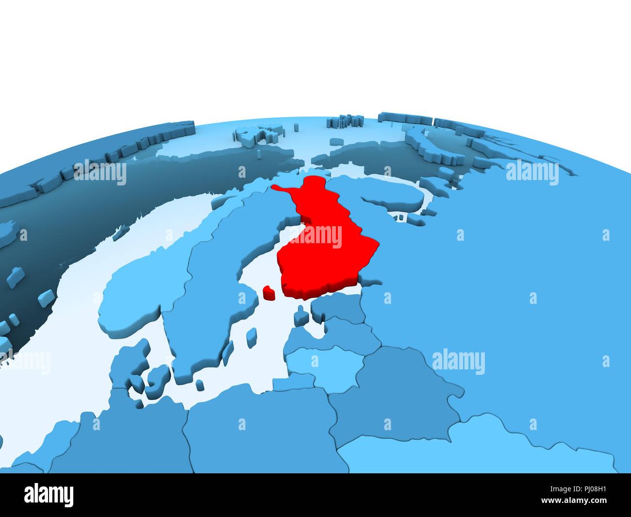 Map Of Finland In Red On Blue Political Globe With Transparent