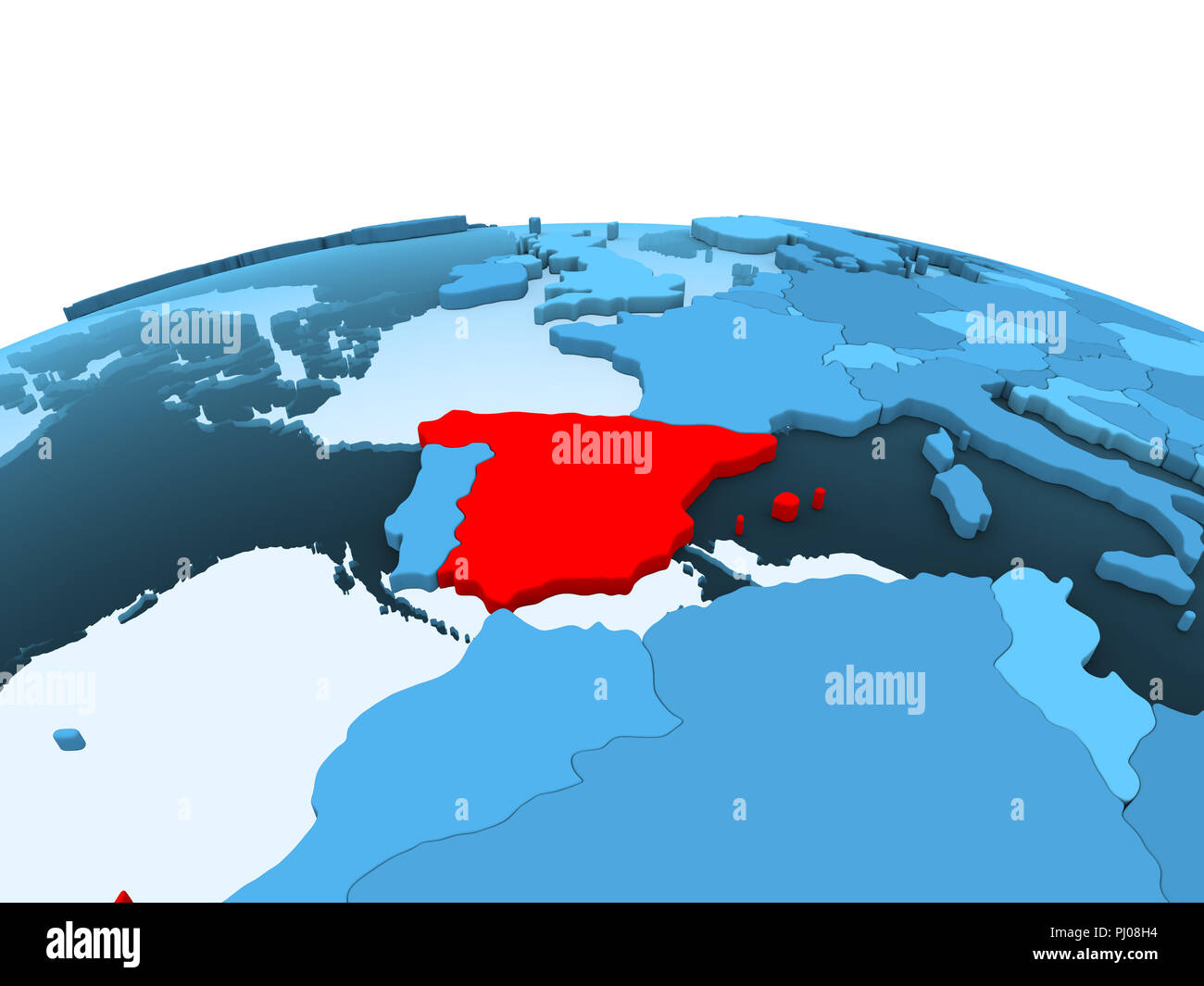 Map Of Spain Oceans.Map Of Spain In Red On Blue Political Globe With Transparent Oceans