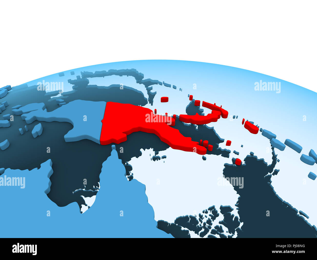 Image of: Map Of Papua New Guinea In Red On Blue Political Globe With Transparent Oceans 3d Illustration Stock Photo Alamy