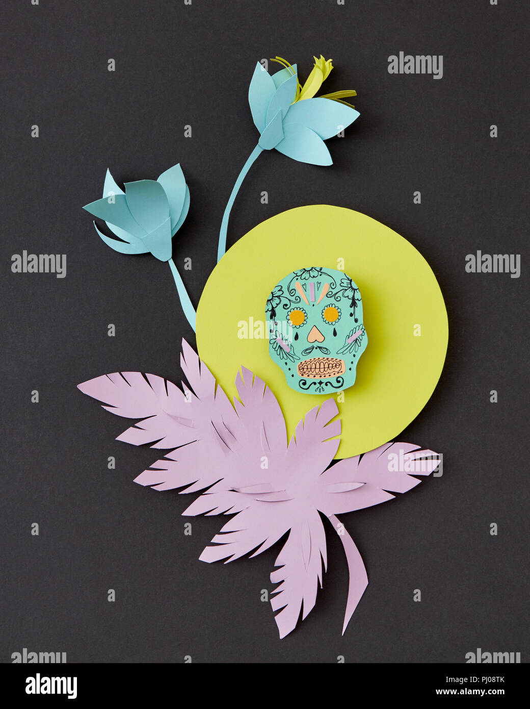 Greeting Card With Calaveras Skull Decorated Paper Flowers