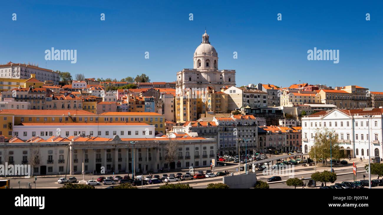 Portugal, Lisbon, Alfama, Old Town, skyline panorama below dome of Panteo Nacional, the National Pantheon - Stock Image