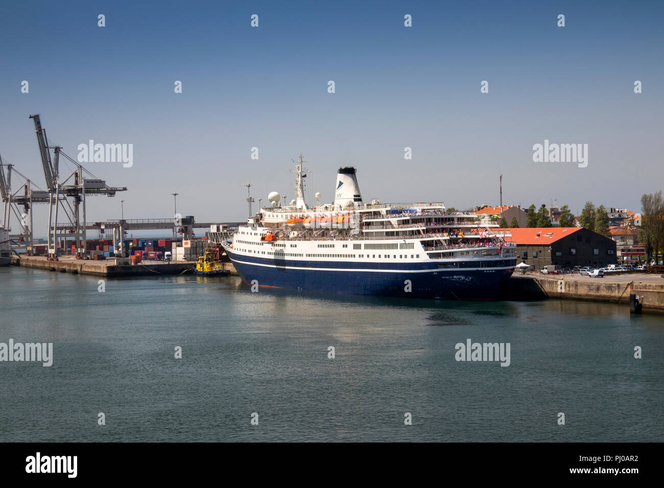 Portugal, Leixoes Harbour, MV Marco Polo, moored at North Terminal Stock Photo