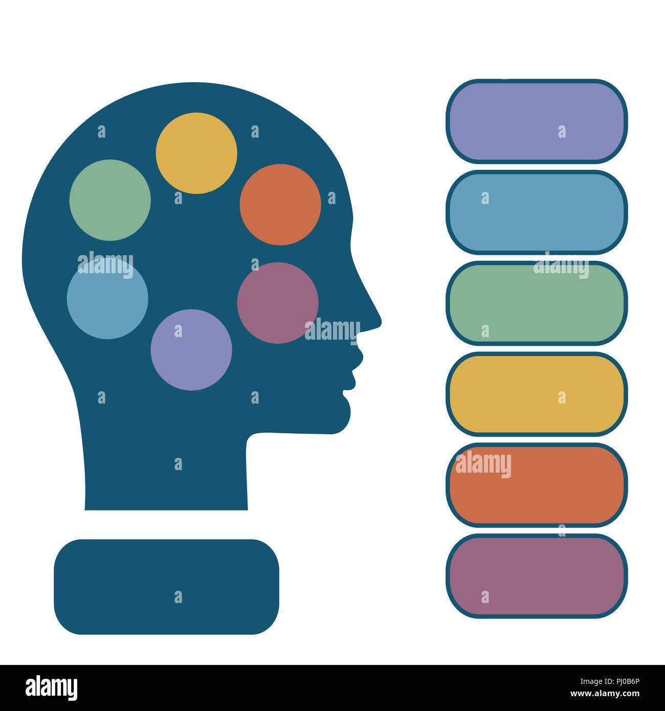 Illustration infographic, head of man, concept thinking human, template for 6 positions, steps, options or parts - Stock Image