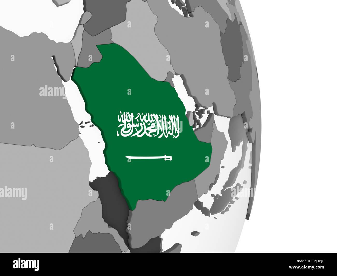 Saudi Arabia on gray political globe with embedded flag. 3D ...