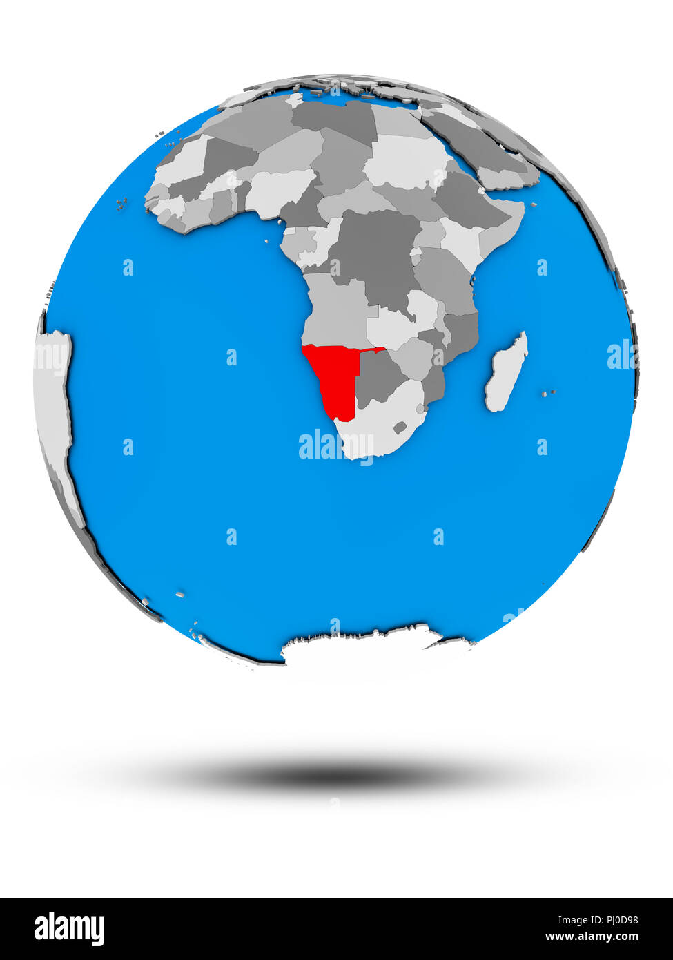 Namibia on political globe with shadow isolated on white background. 3D illustration. - Stock Image