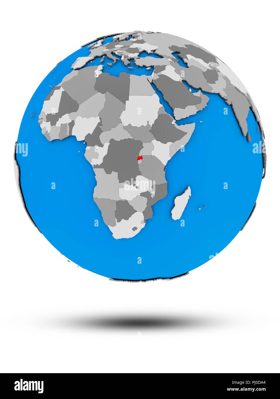 Rwanda on political globe with shadow isolated on white background. 3D illustration. - Stock Image