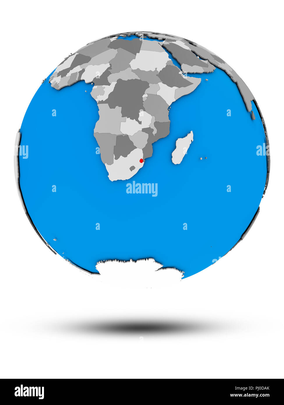 Swaziland on political globe with shadow isolated on white background. 3D illustration. Stock Photo
