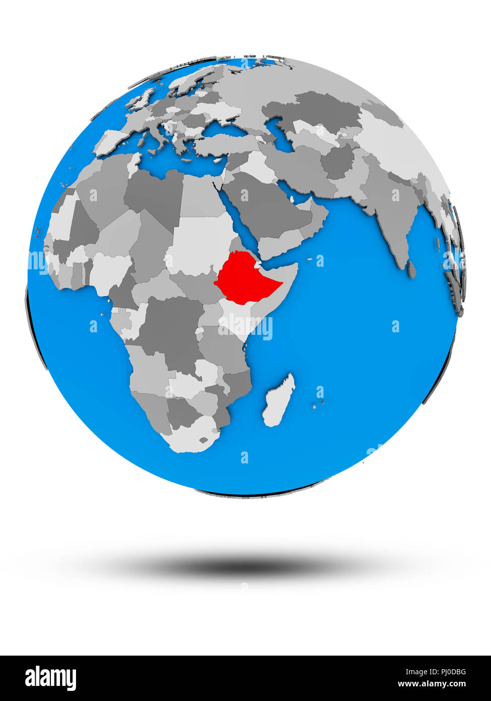 Ethiopia on political globe with shadow isolated on white background. 3D illustration. - Stock Image