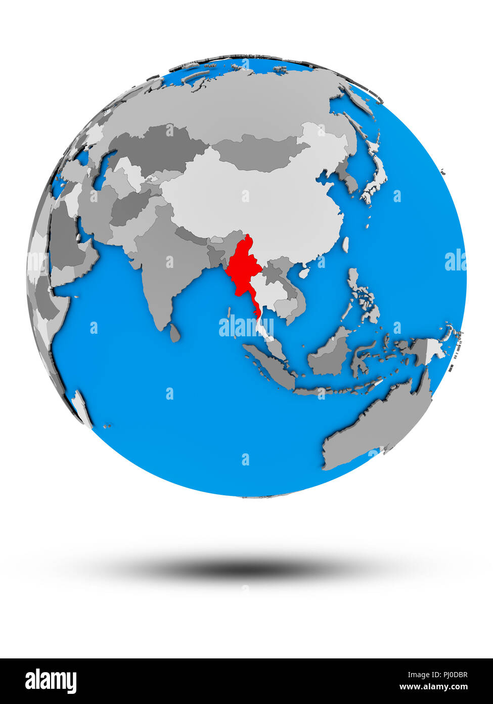 Myanmar on political globe with shadow isolated on white background. 3D illustration. - Stock Image