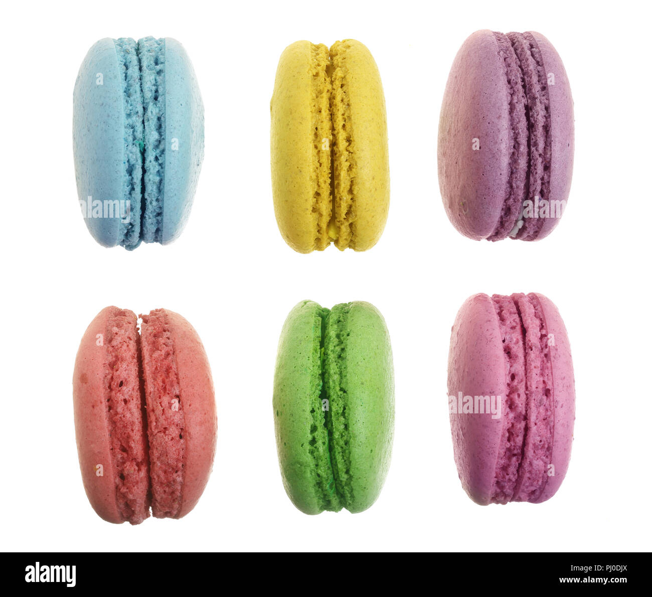 colored macaroons isolated on white background without a shadow closeup. Top view. Flat lay - Stock Image