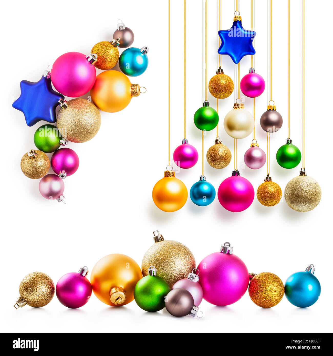 Christmas Balls Collection Christmas Tree Of Colorful Baubles With Gold Ribbon Isolated On White Background Design Elements Stock Photo Alamy