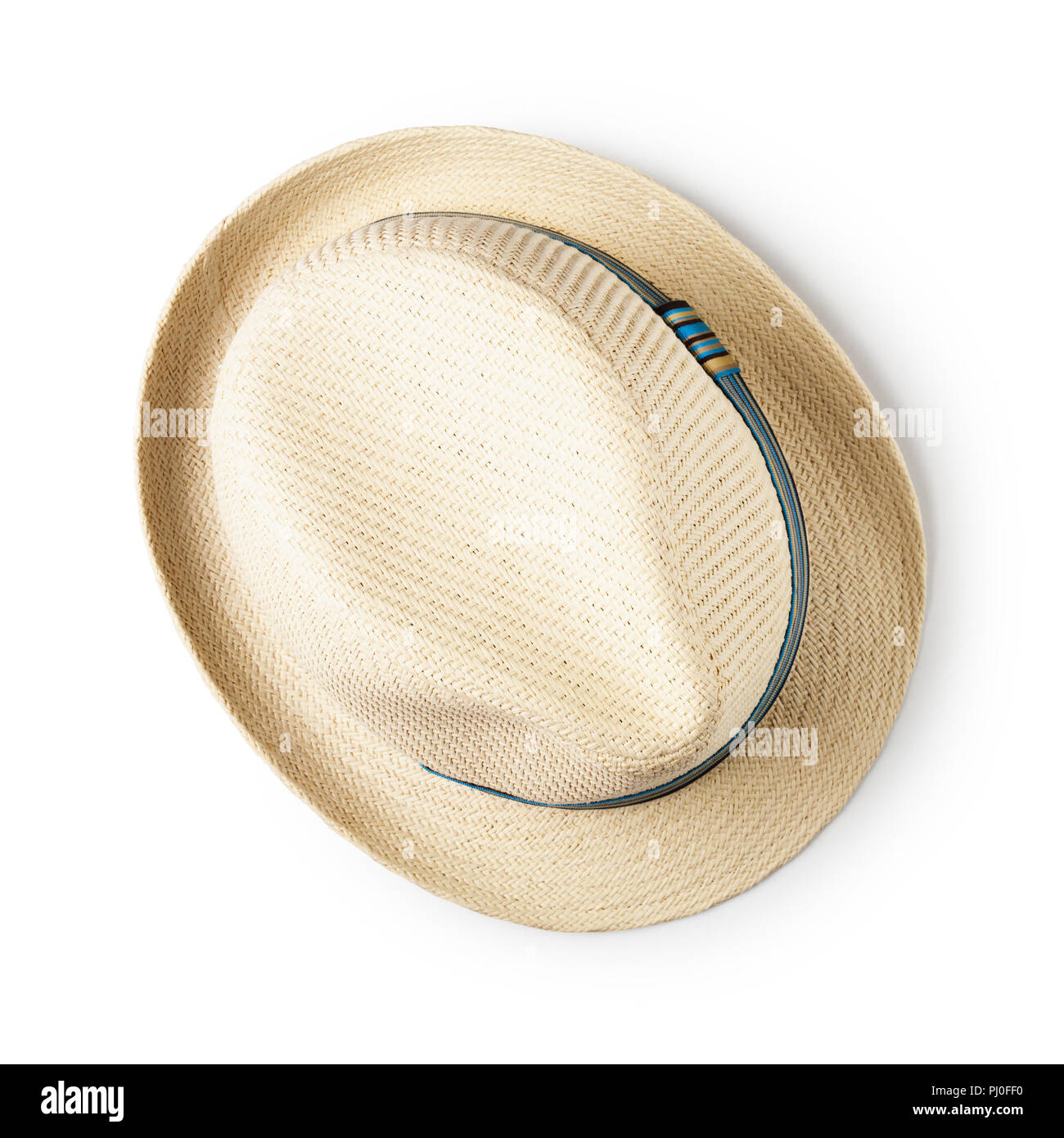 d77e62ea2d8 Straw hat with blue ribbon isolated on white background