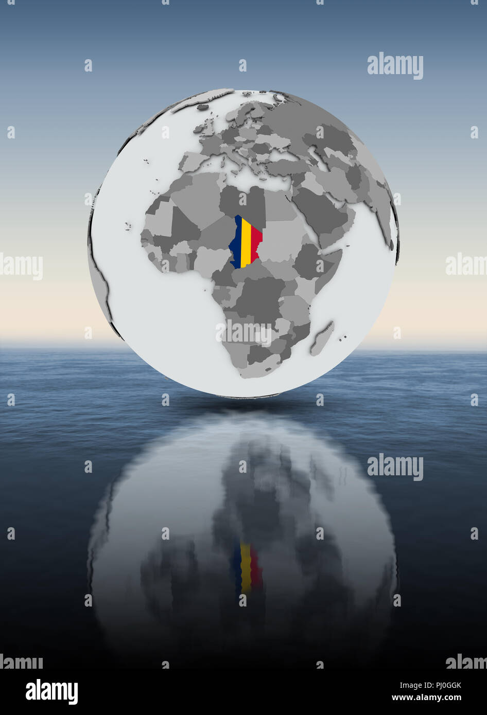 Chad with flag on globe above water. 3D illustration. - Stock Image