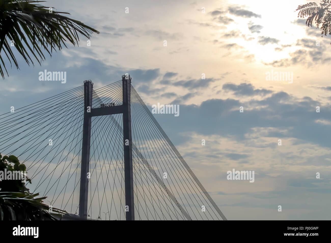 Second Howrah bridge - The historic cantilever bridge on the river Ganges. - Stock Image