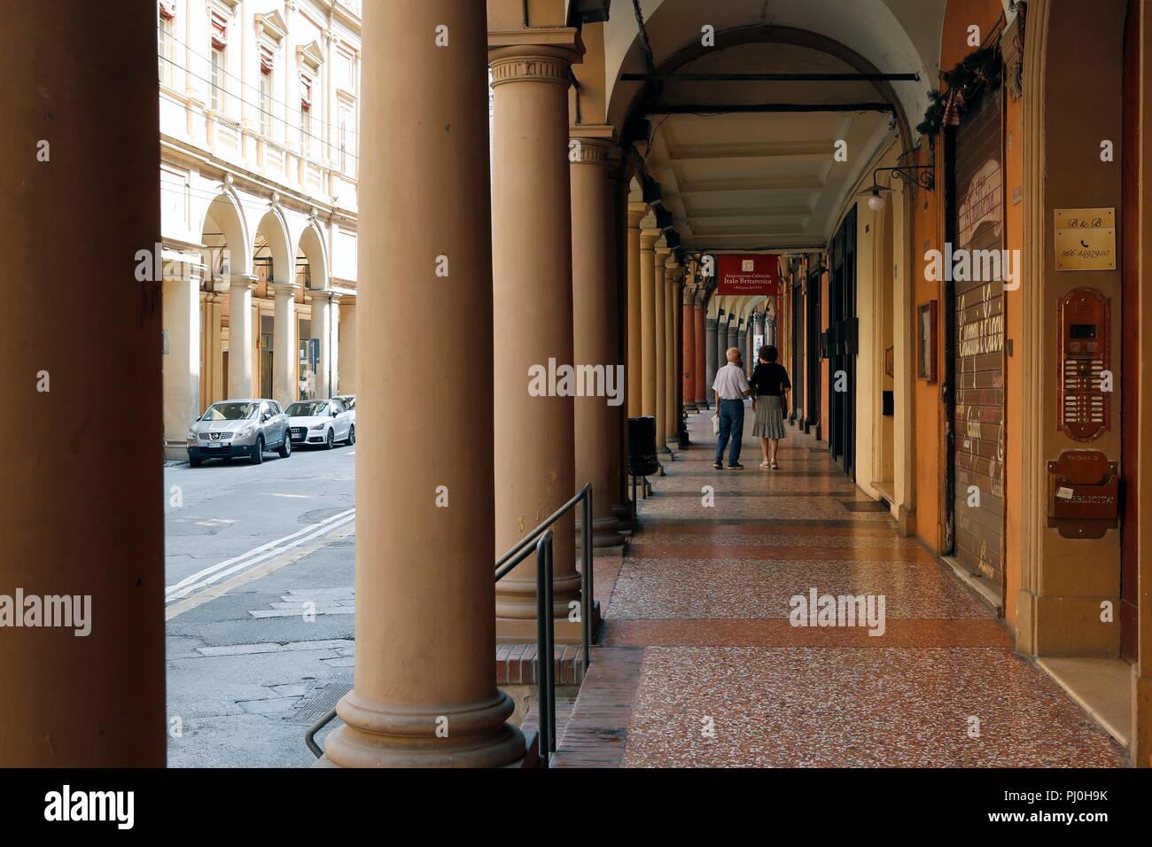 Typical arcades, Bologna, Emilia Romagna, Italy - Stock Image