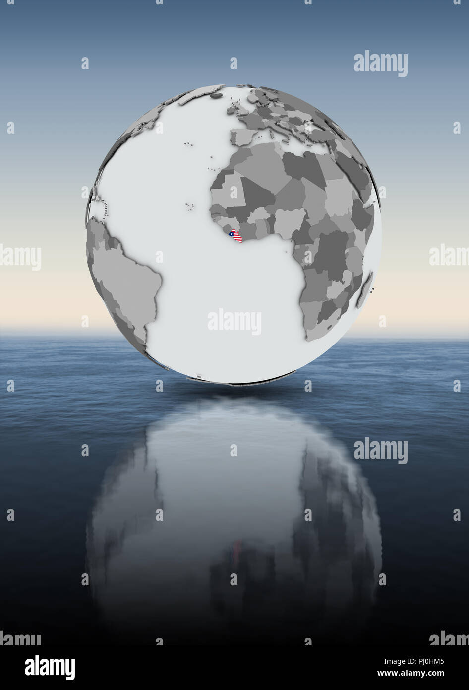 Liberia with flag on globe above water. 3D illustration. - Stock Image