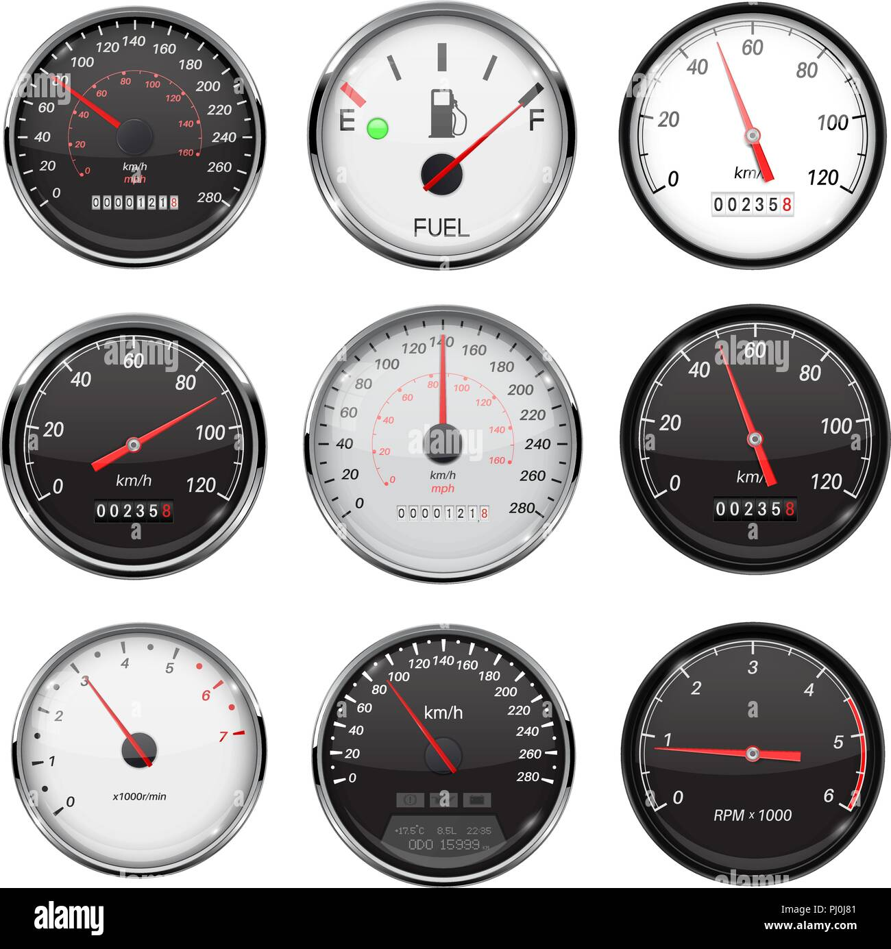 Car Dashboard Gauges With Metal Frame Collection Of Speed Fuel