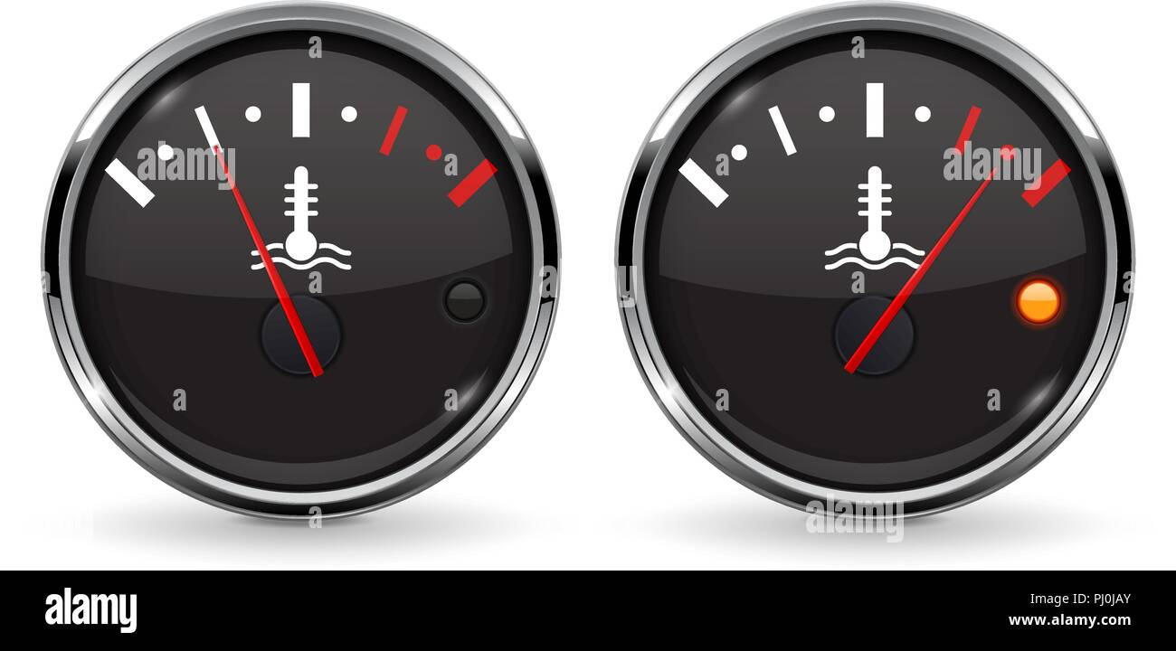Temperature car gauge set. Black device with chrome frame. Low and high level - Stock Image