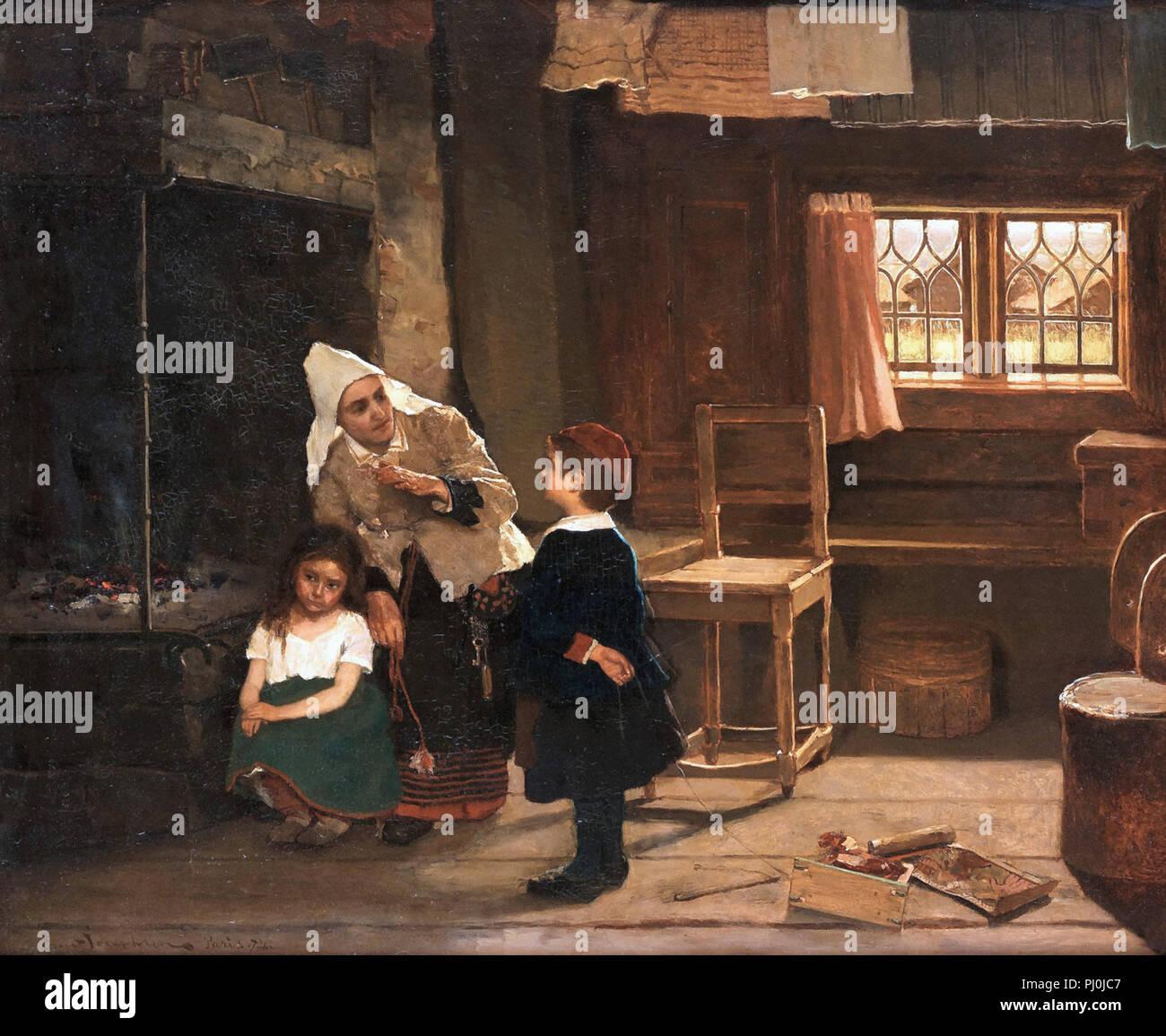Josephson  Ernst - Sagoberätterskan - Interiör Frùe5n Dalarna - Stock Image
