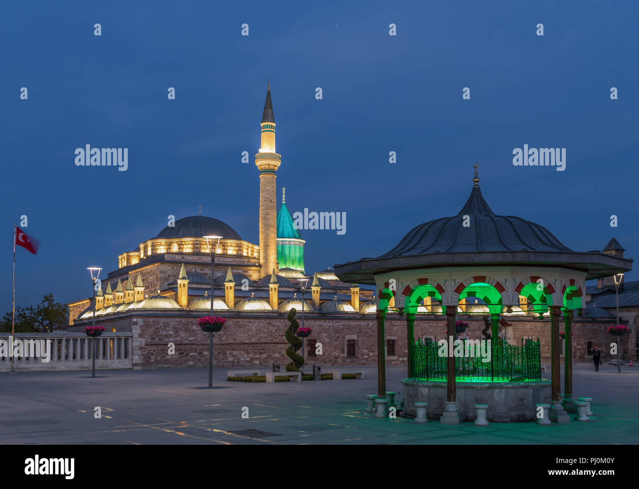 Konya is a major city of the Anatolian Plateau, once capital of the Seljuk Sultanate and famous today for the dervishes shows and the Mevlana Museum - Stock Image