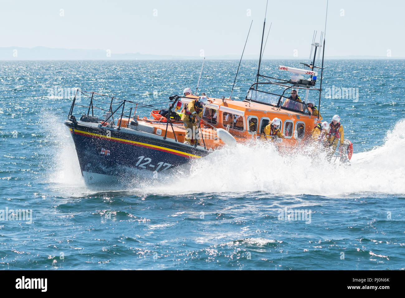 RNLI Lifeboat 'Kingdom of Fife' on an emergency call out from Anstruther Lifeboat Station, Fife, Scotland to an injured visitor on the Isle of May - Stock Image